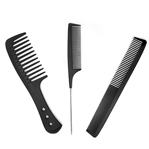 Juego de 3 peines antiestáticos de fibra de carbono para peluquería, para hombres y mujeres, fibra de carbono resistente al calor, peine de cola de acero inoxidable (negro)
