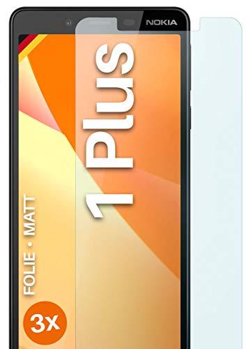 moex Schutzfolie matt kompatibel mit Nokia 1 Plus - Folie gegen Reflexionen, Anti Reflex Bildschirmschutz, Matte Bildschirmfolie - 3X Stück