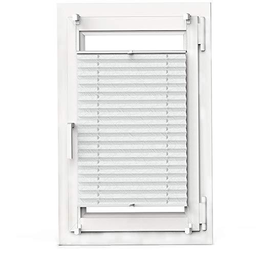 OBdeco Plissee Rollo Klemmfix ohner Bohren lichtdurchlässig Crushed Optik Faltrollo für Fenster Easyfix Weiß 80x130cm