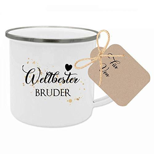 """Manufaktur Liebevoll Tasse mit Spruch """"Weltbester Bruder"""" I Das perfekte Geschenk für den Bruder I Geschenkidee zum Geburtstag und als Dankeschön I mit Geschenkanhänger"""