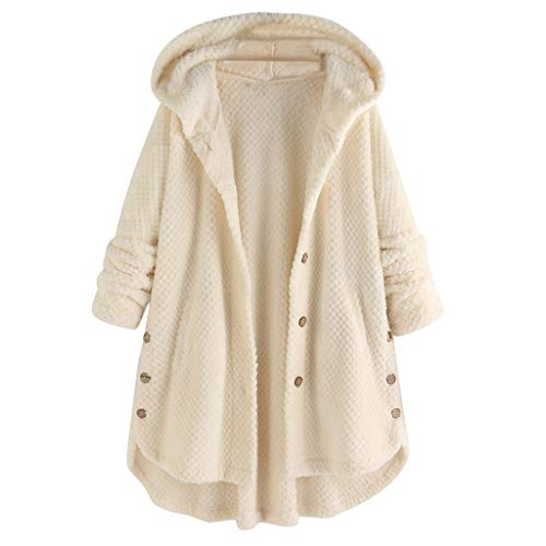 Dames Lange Mouw Losse Knop Pluche Tops Vest Jas, Dames Herfst Winter Effen Kleur Warm Hooded Down Fleece Trui Pullover