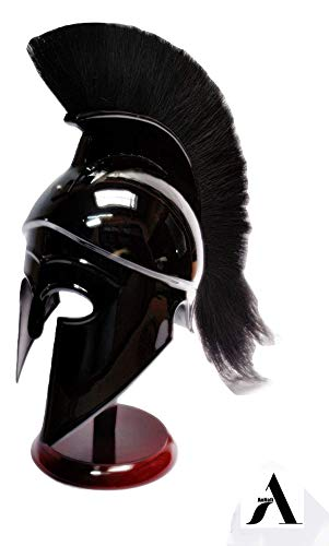 AnNafi Greek Corinthian Helmet w Liner | Medieval Ancient Knight Armor| Spartan Adult Replica Helmet with Black Plume | LARP SCA Role Play Halloween Party Costumes|
