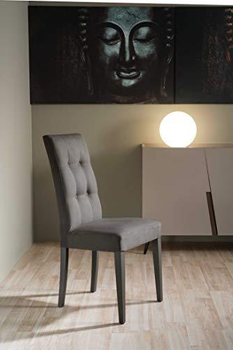 Set di 2 sedie Delia in Tessuto Alcantara (Grigio)