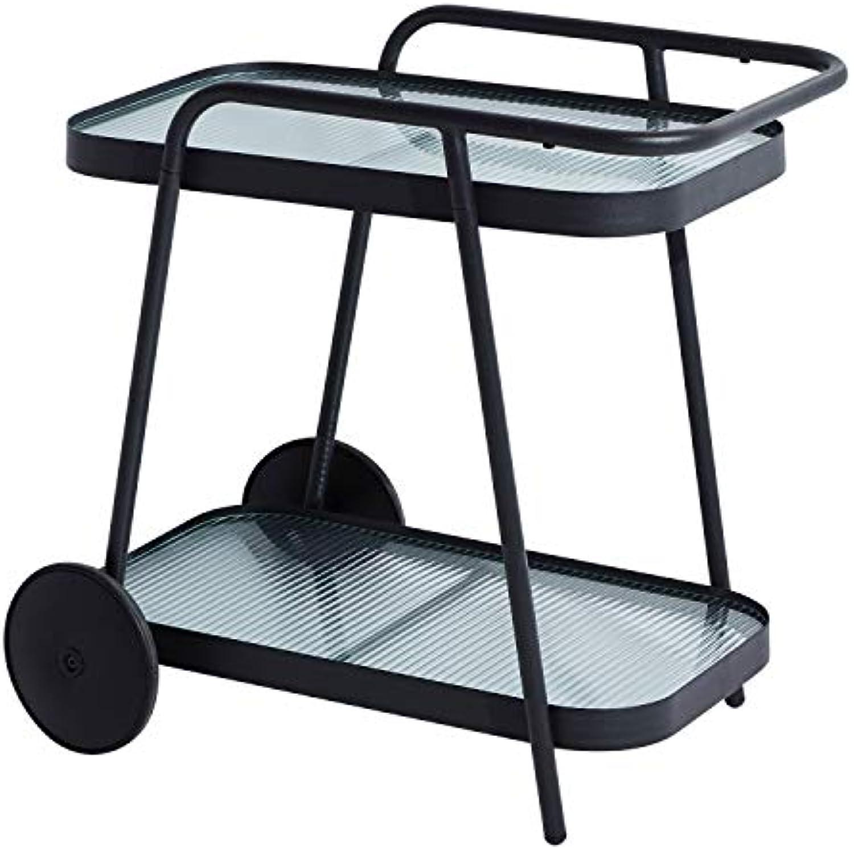 Rollbarer Servierwagen Getrnkewagen Gartentrolley Aluminium mit Glasflchen - Anthrazit