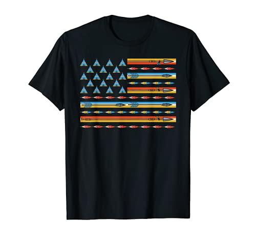Bandera de los Estados Unidos de Amrica India Nativa Bandera Patritica Camiseta