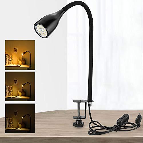 Bojim 6W dimmbare Klemmleuchte LED Schwarz, warmweiß mit 3 Helligkeitstufen, inkl 1x GU10 Leuchtmittel austauschbar, 600lm, 30x2835 SMD, 360° Schwanenhals Lampe, Metall Silikon, AC 220V-240V