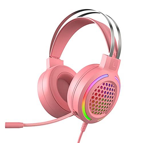 TONGHUA Auriculares para Juegos con micrófono, Auriculares para Juegos con cancelación de Ruido, Sonido Envolvente 7.1 Profesional RGB para PS4/Xbox/PC-Rosa