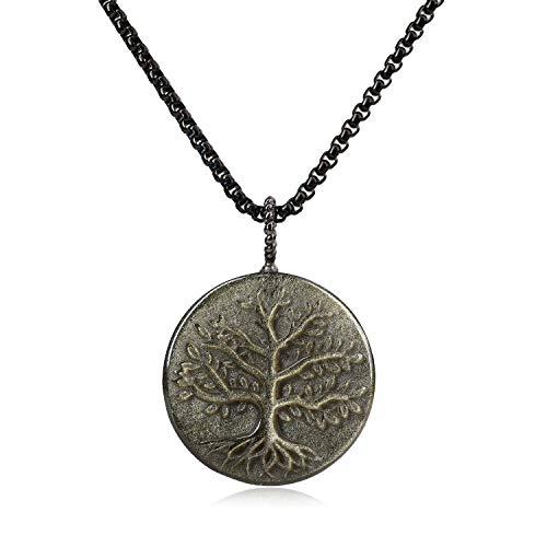 COAI Colgante árbol de la Vida en Obsidiana Dorada con Cadena de Acero Inoxidable