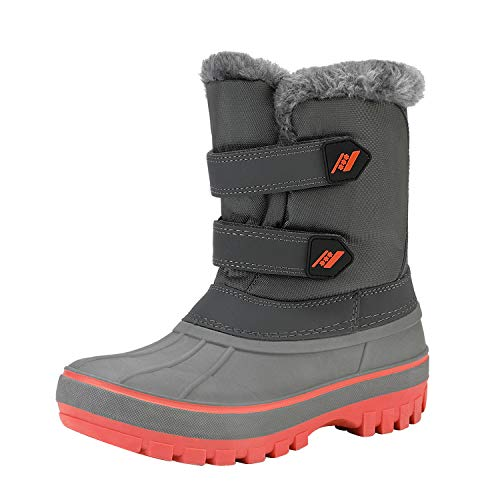 DREAM PAIRS Boys Girls Cold Weather Insulated Waterproof Winter Snow Boots Size 6 M US Big Kid KMONTE-1 Black Grey