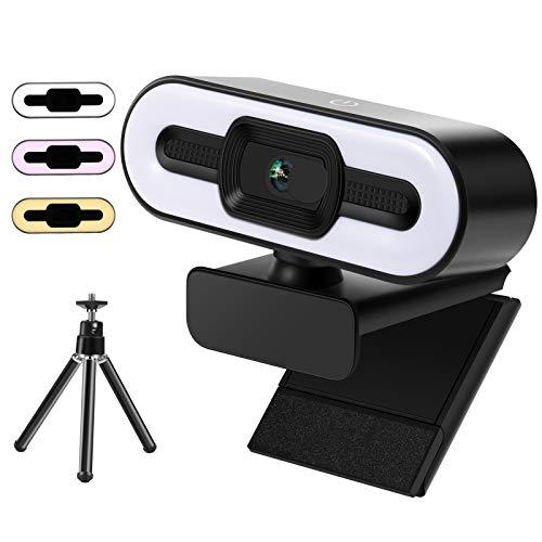 Webcam 2K HD con luz de anillo y micrófono, conexión USB Plug & Play para PC, cámara web con 3 tipos de brillo ajustable y clip giratorio flexible para streaming, videollamadas de conferencias