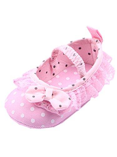 YICHUN Bébé Filles Chaussures de Premier Pas Dentelle Robe Chaussures Souples Points (Longueur de Semelle:13CM, Rose)