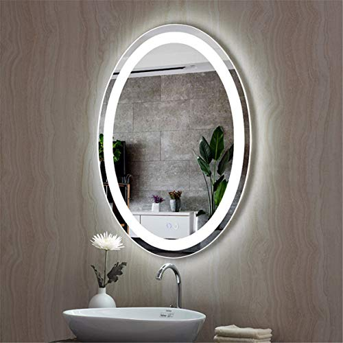 HL - Espejo de baño con luz LED inteligente antivaho con interruptor doble 600 x 800 mm, apto para maquillaje y aseo de baño, color blanco A-600 x 800 mm