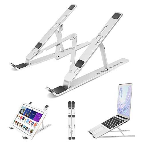 Aso Supporto PC Portatile Angolazione Regolabile Portatile Pieghevole Laptop Stand Alluminio Ventilato Supporto Notebook Supporto Laptop Universale Pieghevole per Laptop (7-17 Pollici)