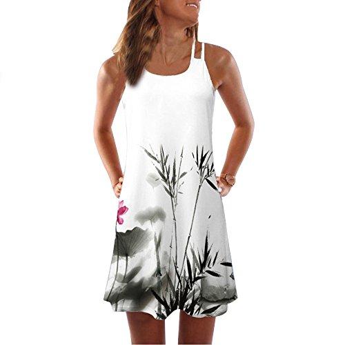 Modaworld Vestido Cortos Mujer Verano de Playa Vestido Corto sin Mangas con Estampado Floral en 3D Bohe Tank de Verano Mujer Vestidos sin Tirantes niña Casual