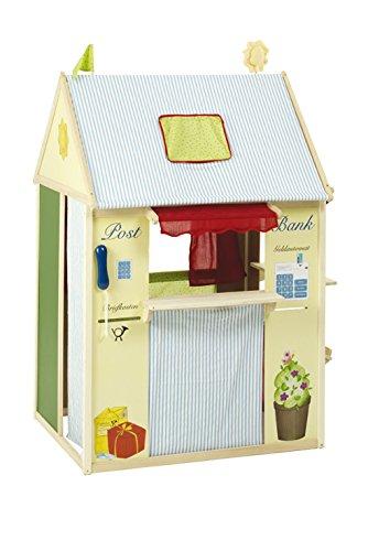 roba Spielhaus-Kombination, Rollenspiel Haus für Kinder, verwendbar als Kaufladen, Kasperletheater, Tafel, Schalter für Post/Bank/Kiosk