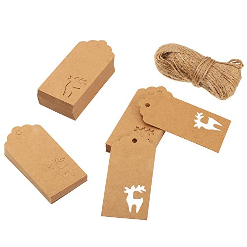 Sumind 100 Pack Brown Paper Gift Tags Hallow Christmas Deer Design Hang Labels for Christmas Gift Wrapping Wedding Birthday Favor