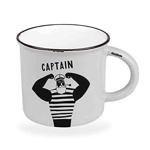 Kaffeetasse vintage| Keramik Becher zum verschenken | 470 ml | maritim | Captain
