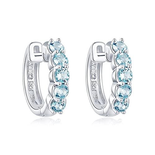 Lohaspie Aquamarin Blau Birthstone Creolen, 925 Sterling Silber Ohrring Creolen für Frauen Mädchen, Natürliche Edelstein Creolen für Frauengeschenke