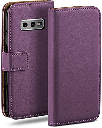 moex Klapphülle kompatibel mit Samsung Galaxy S10e Hülle klappbar, Handyhülle mit Kartenfach, 360 Grad Flip Hülle, Vegan Leder Handytasche, Lila