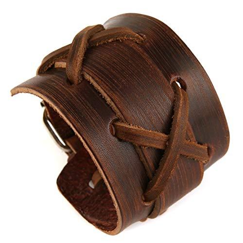 Auténtico brazalete de cuero genuino para hombre casual marrón