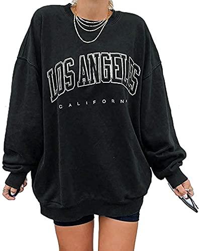 Yesgirl Lange Ärmel Pullover Damen Winter Pullover mit Rundhalsausschnitt, Vintage Sweatshirt Oversized Bunter Cartoons Pullover Teenager Mädchen Sportbekleidung Sweatshirt H 01 Gris M