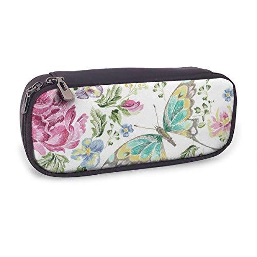 Estuche Escolar de Gran Capacidad,Tendencia Bordado Floral con Rosas Violetas Y Mariposas,Bolsa de Lápiz Organizador para Material Papelería con Cremallera Doble