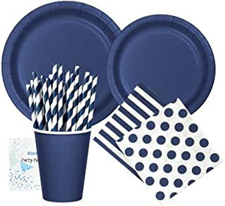 Navy Blue Party Supplies - Plates Cups Napkins and Straws for 20-24 People - Perfect for Birthday Party Baby Shower Bridal Shower Nautical Party and All Lavish Affairs