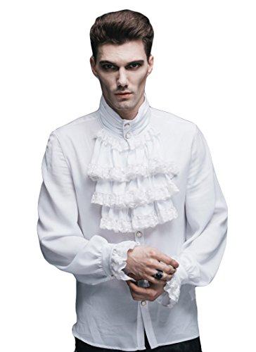 Devil Fashion Chemise à Jabot Blanche Homme, Gothique élégant Aristocrate - Man XXL