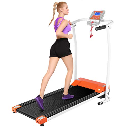 Mauccau Folding Treadmill for Home, Electric Treadmills with LCD Display Exercise Fitness Trainer Walking Running Machine (Orange)