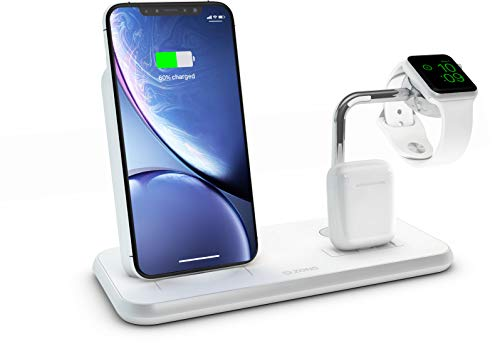 ZENS Qi/Mfi-zertifizierter 3fach Aluminium Wireless Charger Weiß, Für Apple iPhone 8/8 Plus/X/Xr/Xs/Xs Max/11/11 Pro/11 Pro Max/SE 2020, Apple Watch, Apple AirPods & alle Qi-fähigen Telefone, ZEDC07W