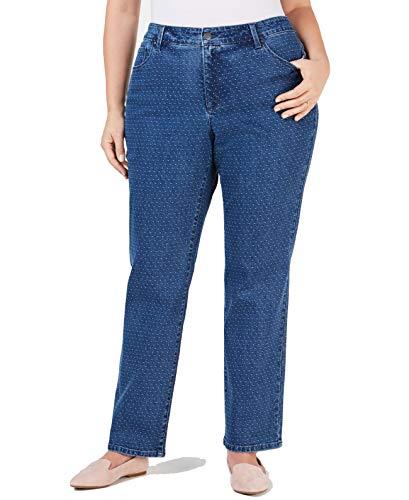 Charter Club Womens Plus Denim Jacquard Straight Leg Jeans Blue 16W