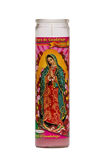 Our Lady of Guadalupe Religious Prayer Candle / Virgin de Guadalupe Novena Vigil Candle (Rose Perfumed Pink Wax)