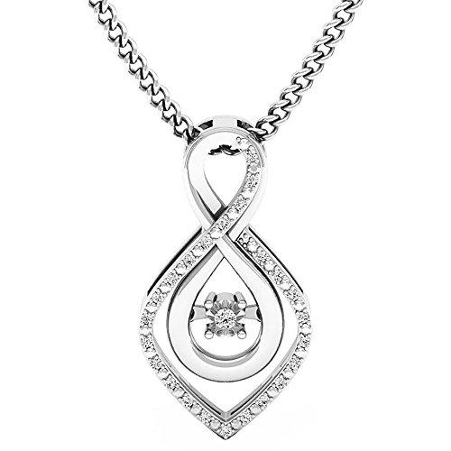 DazzlingRock Collection 0,10Quilates (de quilate) Plata Diamante Redondo señoras Colgante con 18Pulgadas Cadena de Plata 1/10CT