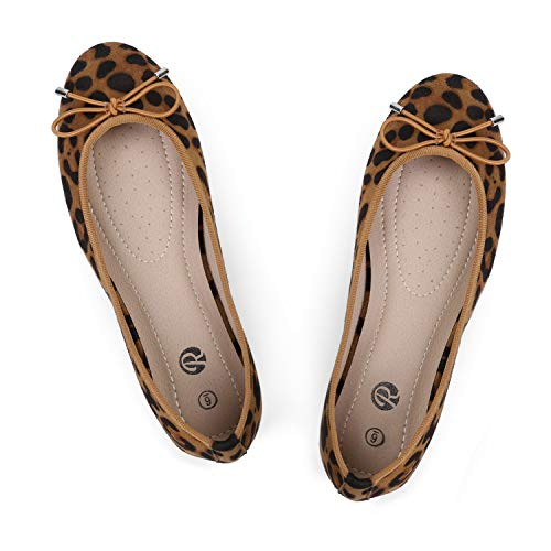 Rekayla Women's Round Toe Ballet Flats and Cute Bow Comfortable Slip on Flat Shoes Leopard Suede Size 8