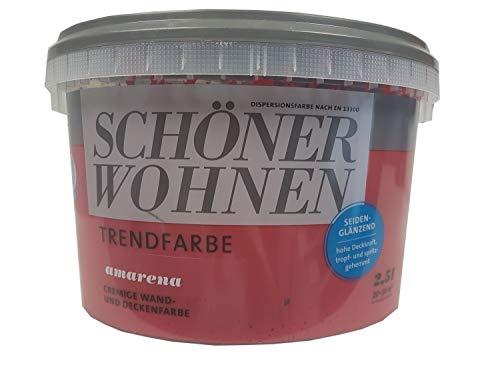 SCHÖNER WOHNEN Trendfarbe cremige wand und Deckenfarbe Seidenglänzend Farbton wählbar 2.5 Liter, Farbe:Amarena
