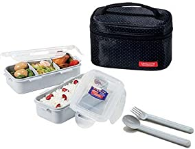 Microwavable Lock & Lock Bento Lunch Box Set Dishwasher Safe Black - Spoon Fork