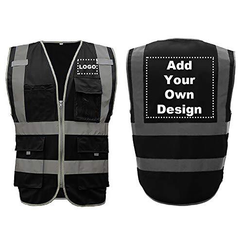 GOGO Chaleco de seguridad de alta visibilidad Logotipo personalizado 8 bolsillos negro tamaño grande trabajo al aire libre reflectante chaleco Black XL