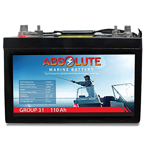 Absolute Battery 12V 110Ah AGM Group 31 Sealed Deep Cycle High Performance Marine Battery
