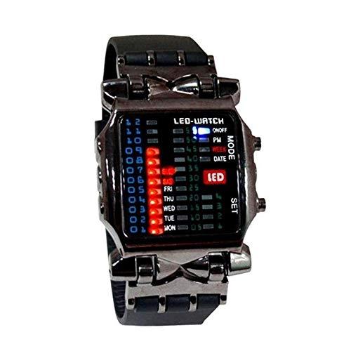 GKXAZ 1 Stück Neue Binary elektronische Uhr Kühle Bunte Laterne Herren-Uhr-Männer Sport-Uhr-Kursteilnehmer-Uhr (Color : Black)