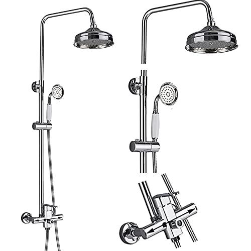 JUNSHENG Juego de ducha, chorro de lluvia y alcachofa sistema ducha regulable en altura, cromado