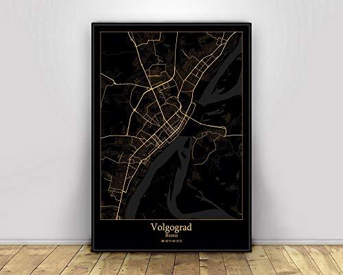 Stampa su Tela, Volgograd Russia Black & Gold City Light Mappe Mappa della Città del Mondo Personalizzata Poster Stampe su Tela Decorazioni per la casa in Stile Nordico Wall Art,40X60CM
