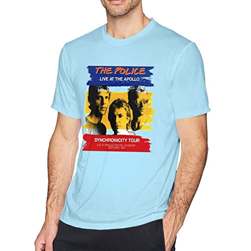 The Police Live At The Apollo Synchronicity Tour Men's Short Sleeve T-Shirt Fashion Printed Casual Short Sleeve Cotton Sky Blue M