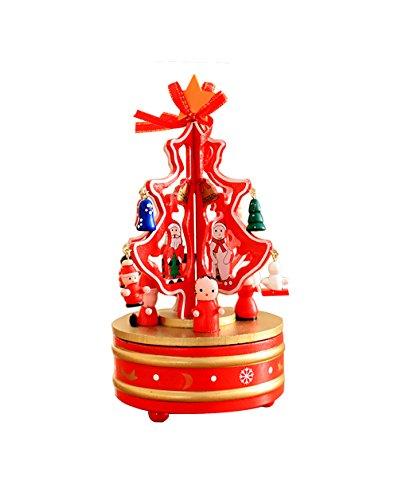 Decorazioni Natalizie Albero Di Natale Scatola Di Musica Rotante In Legno Decorazione Desktop Regali Di Natale (Rosso)