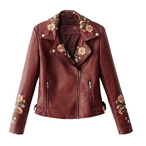 U/A - Giacca da donna in pelle PU con cerniera da motociclista Rosso XL
