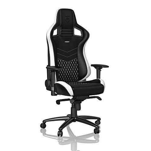 noblechairs Epic Gaming Stuhl - Bürostuhl - Schreibtischstuhl - Echtleder - Inklusive Kissen - Schwarz/Weiß/Rot