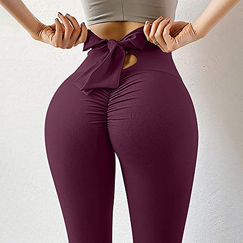 ArcherWlh Yoga Pantalones Mujer,2021 New Yoga Trousers Women's European and American Naked Sensation Slim Bottoming Stretch Tone Hip Hip Fitness Sports Trousers-Red_L