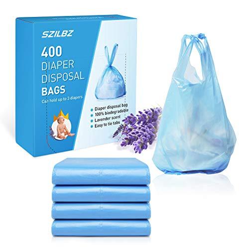 SZILBZ - Sacchetti per pannolini usa e getta, 400 pezzi, richiudibili, con maniglia per il trasporto