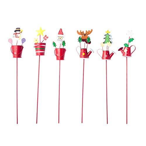 Amosfun 6 x Weihnachts-Gartenpfähle, Weihnachtsmann, Rentier, Schneemann, Wasserkocher, Metall, Hof, Rasen, Dekoration