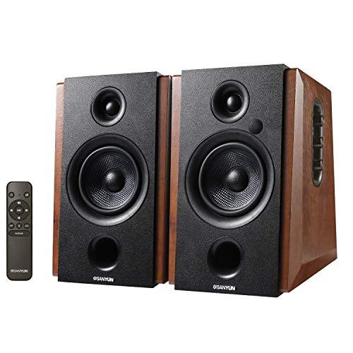Sale!! Sanyun SW228BT Powered Bluetooth Bookshelf Speakers - 4 Inch Active Carbon Fiber Speaker- Wir...