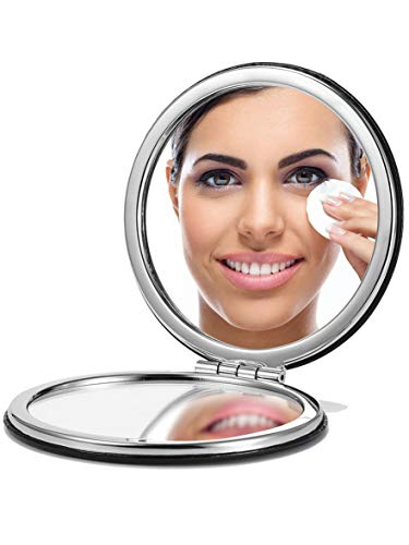 OMIRO Compact Mirror, Round PU 1X/3X Magnification, Ultra-Portable for Purses and Travel, Black